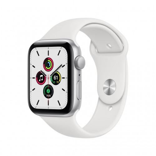 apple watch se gps 44mm in alluminio argento con cinturino sport bianco