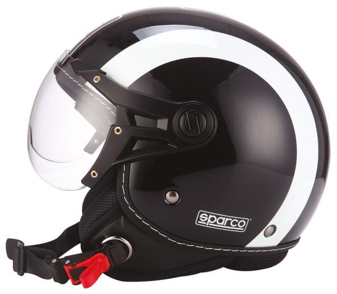 Image of 08277 SPARCO CASCO SP501 NERO / BIANCO XS